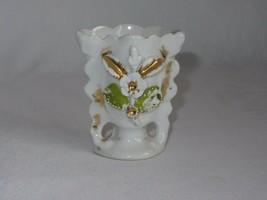 Vintage White Porcelain Toothpick Holder Vase Applied Flower Gold Trim - $18.55