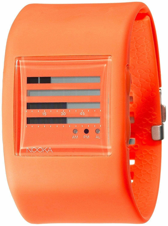 Nooka Womens Zub ZenH 38mm Burnt Orange Polyurethane Digital TFD LCD Watch NIB
