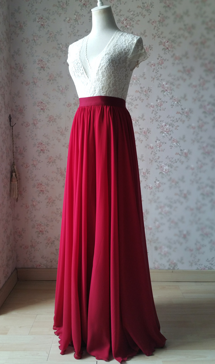Chiffon skirt maxi red 101 2