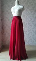 RED Bridesmaid Chiffon Maxi Skirt Plus Size Red Full Long Chiffon Wedding Skirt image 4