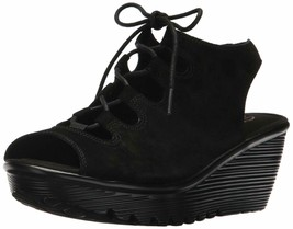 Skechers Suede Lace-Up Peep-Toe Wedges Black, Size 6 M - $45.53