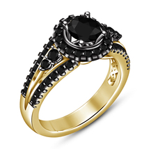 Round Cut Black Diamond 18k Gold Plated Pure 925 Silver Women's Engageme... - $83.99