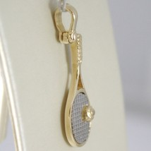 White Yellow Gold Pendant 750 18k, Tennis Racket, 2.7 cm, Made in Italy image 2