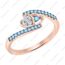 Heart Shaped Diamond & Blue Topaz 14k Rose Gold Over 925 Heart Anniversary Ring - $89.99