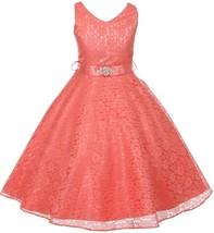 Flower Girl Dress V-Neck Lace Rhinestone Brooch Coral GG 3511 - $34.64+