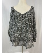 Tolani Black and White Print V Neck 3/4 Sleeve Peasant Style Top, Women'... - $23.74