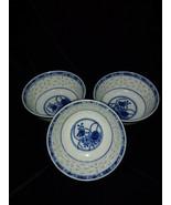 Vintage Chinese Blue & White Porcelain Rice Eyes Grain Dragon Bowls, Set... - $14.00