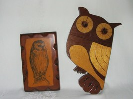 2 Vtg Retro 70s Owl Wood Plaque Rustic Art Print Wall Decor & Hand Made - $24.74