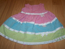 Size 24 Months Bonnie Baby Gingham Summer Dress Pink Blue Green White Ribbon EUC - $18.00