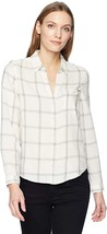 NWOT Calvin Klein Womens Long Sleeve Ivory plaid Flannel Shirt Northern XS Small - $29.99