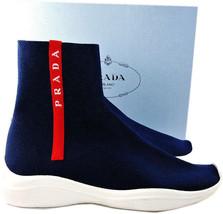 Prada Sport Runner Scarpe Rosso Logo Banda Blu Calzino Sneakers 38 Stiva... - $359.81