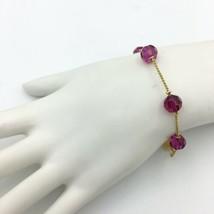 SWAROVSKI swan signed station bracelet - pink crystal beads gold-tone ch... - $17.64