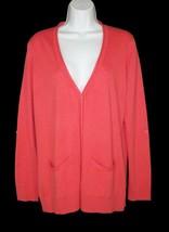 NWT Talbots Salmon Pink Soft Cardigan Sweater Rolled Edges L Large - $22.49