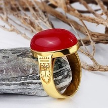REAL 10K YELLOW GOLD Men's Vintage Ring NATURAL Red Agate Gemstone all s... - €201,04 EUR