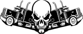 Skull Trucker 18 Wheeler Truck Driver Road Car Boat Window Vinyl Decal S... - $9.49+