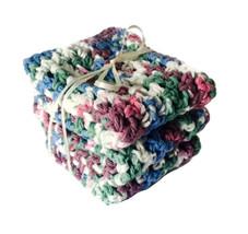 Handmade Dish Cloths Blue Green Pink Crochet Cotton Kitchen Dishcloth Se... - $18.75