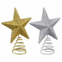 Christmas House Glittery Mini Metal Star Tree Topper, 3.75 in. Silver Go... - $5.99