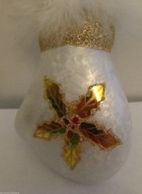 Mitten Ornament Glass Painted Poinsettia White Feather Boa Birthday Wint... - $19.39