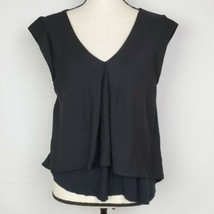RACHEL Rachel Roy Womens Top M Black Layered Cap Sleeve Asymmetric Hem B... - $14.99
