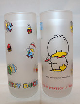 Patsy Duck Sony Creative Products Inc Set of 2 Tall Frosted Glass 1987 1... - $63.21