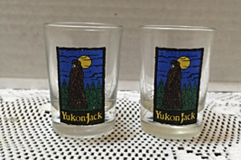 Two Vintage YUKON JACK Shot Glasses Barware Canadian Whiskey Shot Glass - $10.00