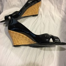 Franco Sarto Shoes Women Black Leather Woven Wedges New Size 8.5 - $39.65