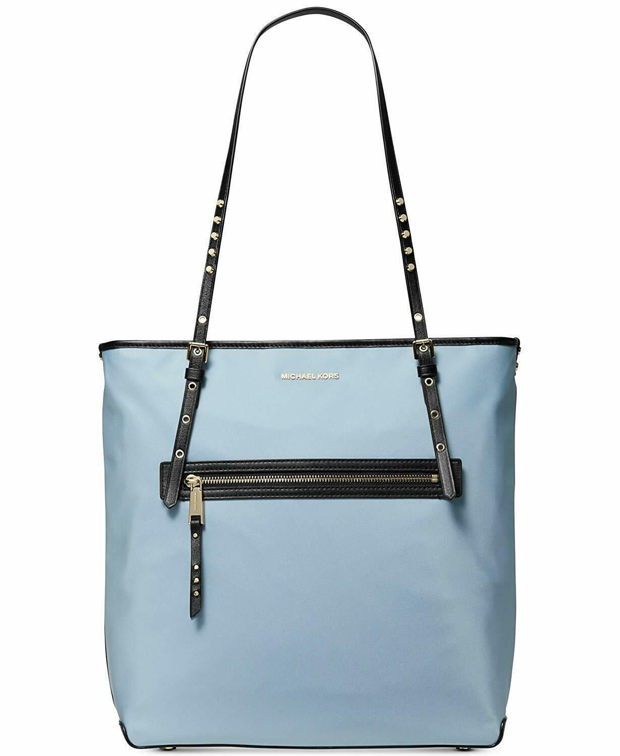 Primary image for NWT MICHAEL KORS LEILA LARGE NYLON TOTE PALE BLUE