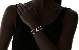 Chloe + Theodora 14K Gold Plated Geometric Cubic Zirconia Crystal Cuff Bracelet image 2