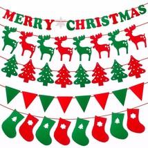 Merry Christmas Banner Reindeer Socks Tree Triangle Christmas Home Decor... - £5.95 GBP+