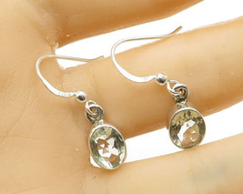 925 Silver - Vintage Bezel Set Faceted Green Amethyst Drop Earrings - E2763 - $30.35