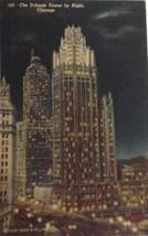 1930s Postcard Curt Teich Tribune Tower By Night Chicago Illinois Postma... - $9.22