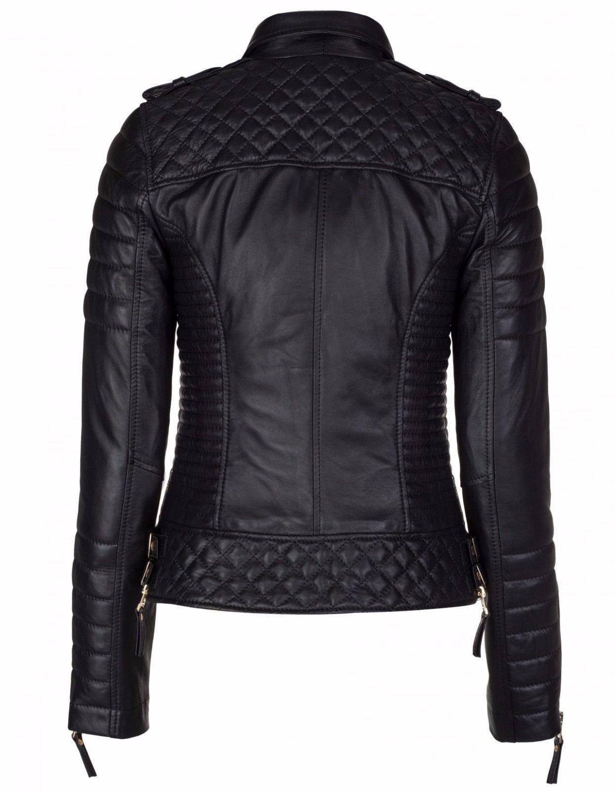 Women/'s Genuine Lambskin Motorcycle Real Leather Jacket Slim fit Biker Jacket 01