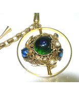 VINTAGE PEACOCK GLASS DRAGONS EGG LIZARD INSECT BRASS RHINESTONE BRACELET  - $350.00