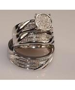 3.00 Ct White Gold Finish Diamond Set Matching Trio Engagement Ring Wedd... - $141.95