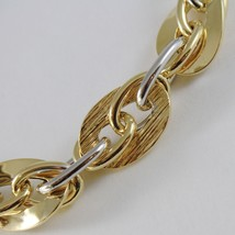 18K YELLOW WHITE GOLD BRACELET DOUBLE BIG OVAL WORKED ROPE LINK, MADE IN ITALY image 2