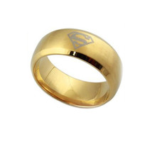 SUPERMAN GOLDEN BAND RING  *SIZE 8.0*  12417 >> COMBINED SHIPPING - £3.09 GBP