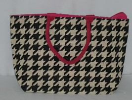 GANZ Brand Style 101 ER39334 Large Burlap Black Cream Purse Pink Handle image 2