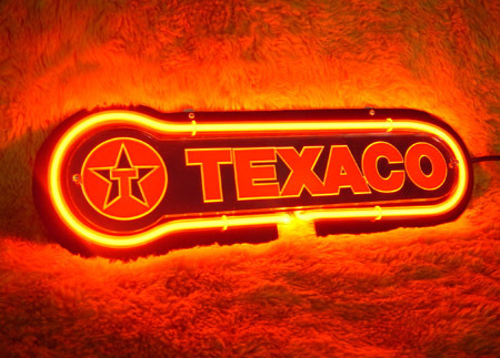 "New Texaco Fluorescent 3D Neon Light Sign 12"" x 4"""