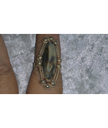 Vintage white stone western looking Sterling silver ring Downton Abbey s... - $45.00