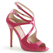 "PLEASER Sexy Strappy Swirl Cutout Hot Pink 5"" Stilettos Sandals Shoes AM... - $52.95"