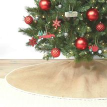 "NEW Wondershop for Target 56"" Diameter Burlap w White trim Christmas Tree Skirt image 3"