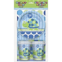 1st First Birthday Blue Turtle Party Pack 8 Plates 8 Cups 8 Napkins Tabl... - £6.79 GBP