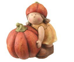 "Northlight 11.5"" Fall Girl in Tan Dress Artificial Orange Pumpkin Table ... - $30.48"