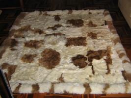Baby alpaca fur carpet, natural braun white spots, 90 x 60 cm/ 2'95 x 1'97 ft - $203.00