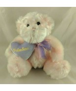 "Pink Bear Plush 9"" Valentine Purple Pillow Walmart Stuffed Animal toy - $12.95"