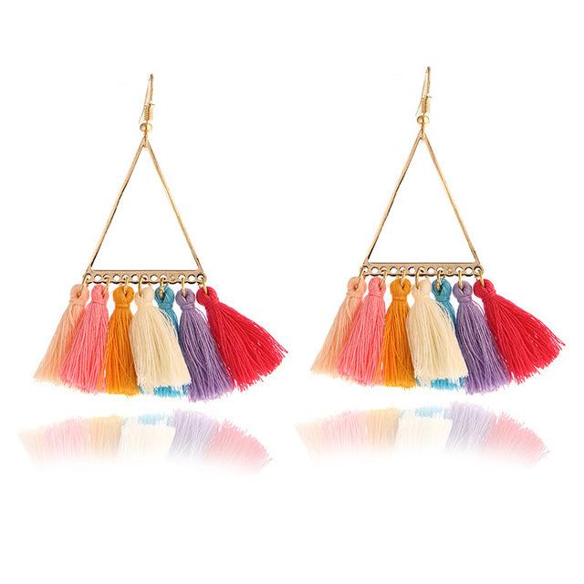 fashion women statement tassel earrings bohemian multicolored drop earrings for