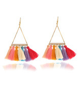 fashion women statement tassel earrings bohemian multicolored drop earri... - $95,27 MXN