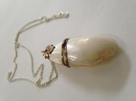 Vintage, Rare, Mother of Pearl, Clam Purse-Pendant w/ 30in Sterling Chain - $47.45