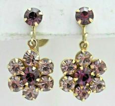 Vintage Prong Set Purple Rhinestones Drop Dangle Flower Screwback Earrings - $9.89