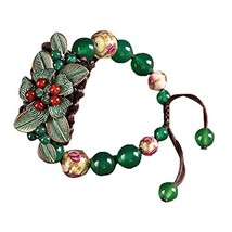 Leaves Pattern Charm Bracelets Hand Made Glass and Metal Agate Bracelets image 2